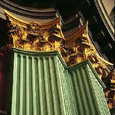 roman Corinthian capitals on fluted square columns
