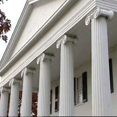 large fluted exterior columns