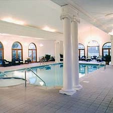 interior decorative columns near a pool